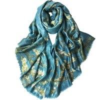 Классические печатные из чистого кашемира клипы яркий шелковые женские интеллектуальной Элегантный большой шарф шаль пашмины 110x200 см