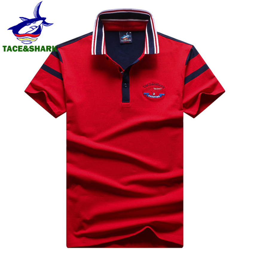 TACE&SHARK Brand Fashion Clothing Male Embroidery Shark   Polo   Shirt Summer Cotton Red Blue White Short Sleeve Men   Polos