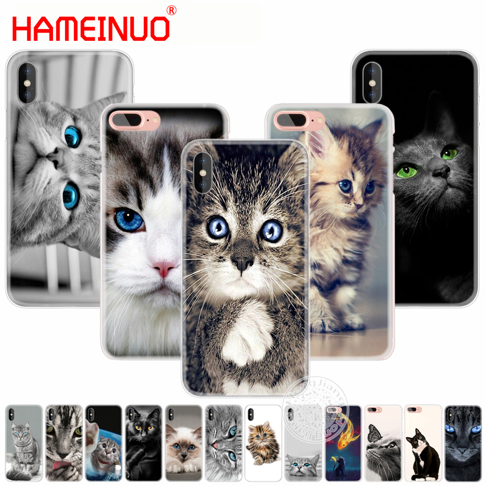 HAMEINUO cat kitty blue eyes cute animal pet phone Cover case for iphone 6 4 4s 5 5s SE 5c 6 6s 7 8 plus case for iphone 7 X