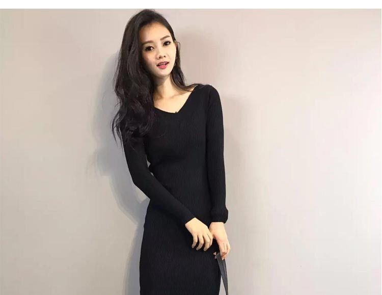 2017 The New Fashion Sexy Spring  size v-neck Knitted dress. long sleeve and Package hip.  high elasticity. L~XL size BL01 2016 women s clothing fashion in europe and the atmosphere bohemia elasticity knitted cultivate one s morality dress