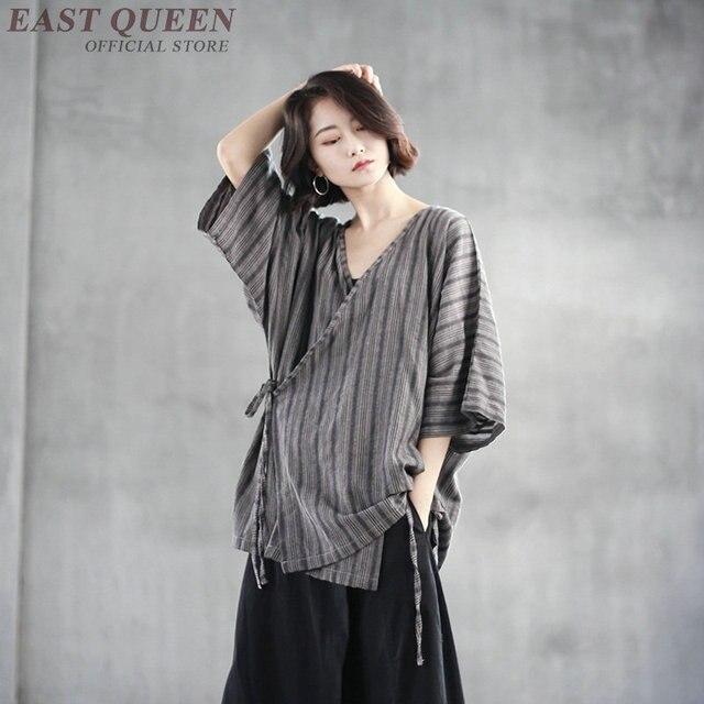Японская уличная полосатая льняная блузка kimonos woman 2018 женское элегантное японское кимоно юката FF1061