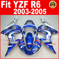 Motorcycle parts for YAMAHA R6 2003 2004 2005 fairing kits blue white YZF R6 fairing kit 03 04 05 7 gifts