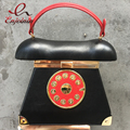 New Style vintage Fashion Phone Styling Black & Red pu leather ladies casual totes purse women's pouch clutch bag flap