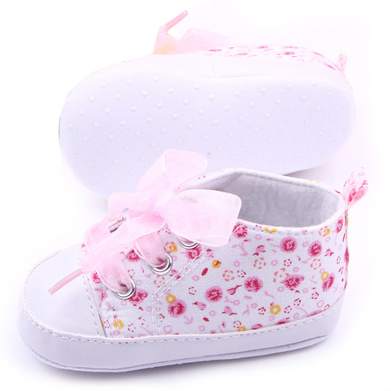 Baby Kids Girls Cotton Floral Infant Soft Sole Baby First Walker Toddler Shoes