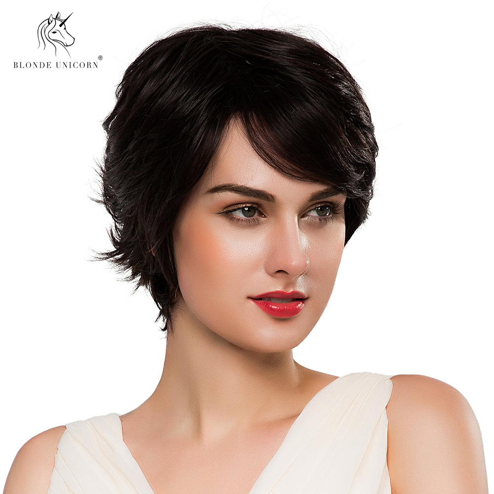 Hair Extensions & Wigs Synthetic Wigs Sporting Blonde Unicorn Synthetic Short 50% Human Hair Wig Pixie Cut Natural Wave Fluffy Layered Wig With Bangs For White Women Hair Wig Waterproof Shock-Resistant And Antimagnetic