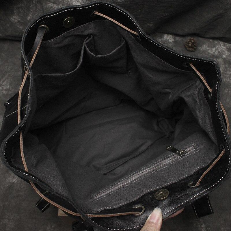 Nesitu Hohe Qualität Große Große Vintage Schwarz Braun Gemüse Gegerbtem Echtem Leder frauen Rucksack Mädchen Weibliche Reisetasche M6014 - 5
