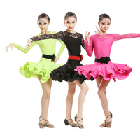 Latin Dance Costume Girls Long Sleeve Practice Clothes Latin Dance Competition Performance Clothes Rumba/Tango Wear DQL1033