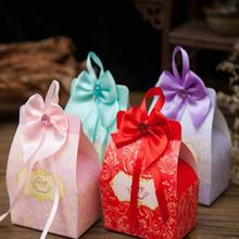 30pcs/lot Romantic Wedding Candy Box DIY Bow Ribbon Handmade Paper Gift Boxes Birthday Party with