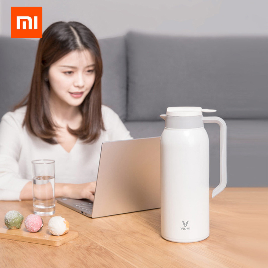 Newest Original Xiaomi Mijia VIOMI Thermo Mug 1.5L Stainless Steel Vacuum Bottle Cup Thermo 24h Keep Warm For xiaomi smart home 1 5l big capacity xiaomi viomi stainless steel bottle thermos water vacuum bottle cup flask pot 24h keep warm for home office