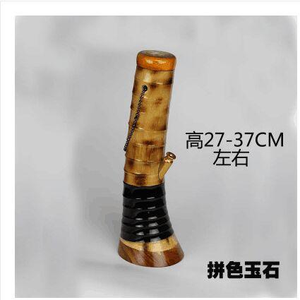 1 pièces fer à cheval pied jade bouche bambou narguilé artefact narguilé avec grand tuyau de bambou Yunnan narguilé avec
