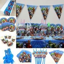 82pc/set Avenger Superhero Happy Birthday Party Decoration Kids Boys Disposable Tableware Baby Shower Event Supplies Favor