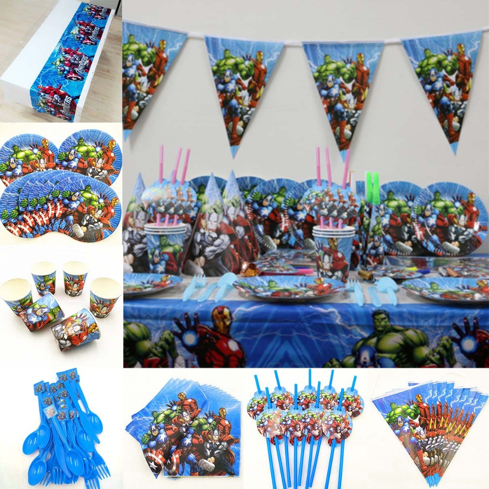 82pc/set Kids Birthday Party Supplies Avenger Tableware Decoration Favor tablecloth plate cup napkin straw flag knife fork spoon