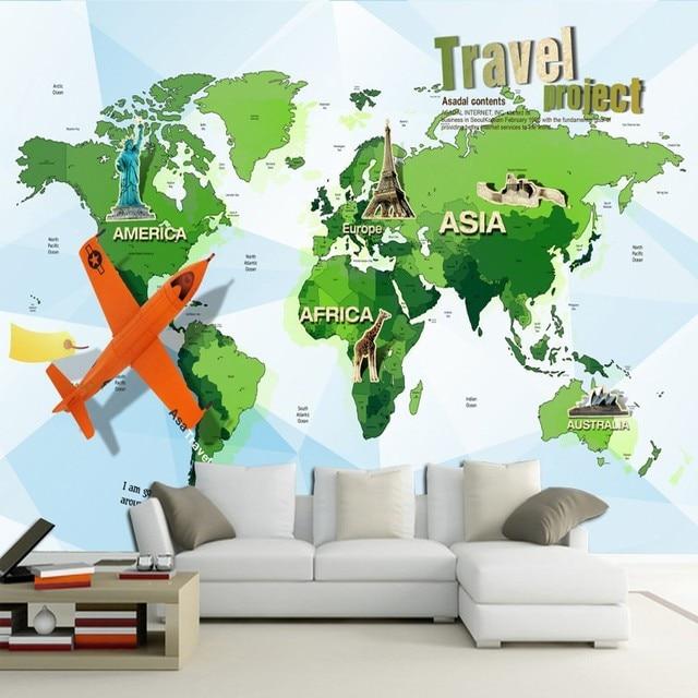 Photo Wallpaper Cartoon World Map Plane Traveling Mural Children Room Bedside Background Living Restaurant