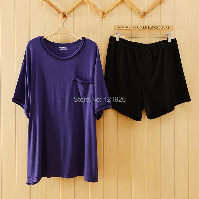 Mens verano de gran tamaño Sleepwears azul oscuro Modal algodón pijamas Homewears manga corta camisetas + Shorts pijama sml XL XXL