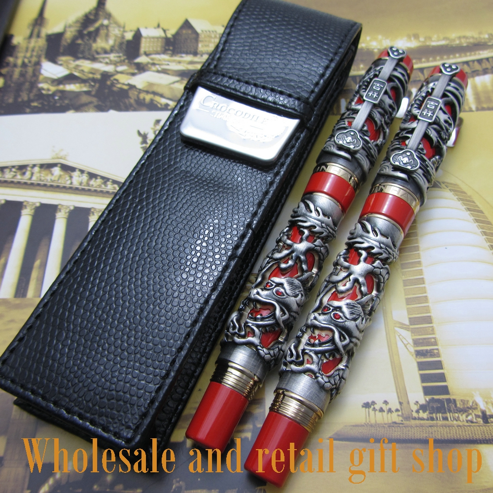 2pcs pen Jinhao Dragon Phoenix Heavy Gray Red Chinese Classical Luck Clip and pen bag free shipping advanced roller ball pen jinhao chinese dragon bronze white with black heavy gife pen