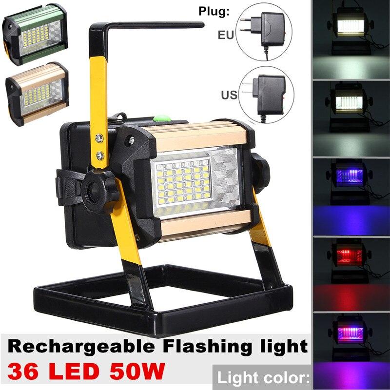 Led Flood Light Flashing: Smuxi 2400LM 4 Modes 50W 36 LED Floodlights Rechargeable