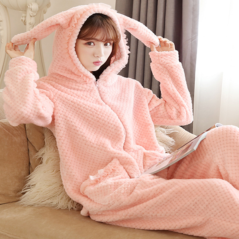 New conjoined pajamas female autumn winter long sleeved flannel cartoon rabbit ears thick lovely home wear pajamas Sleepwear