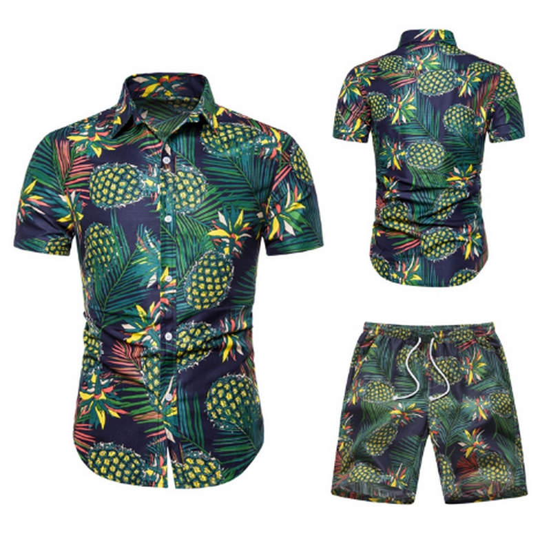 HTB1vvr0aeL2gK0jSZPhq6yhvXXar - Summer Fashion Floral Print Shirts Men+Shorts Set Men Short Sleeve Shirts Casual Men Clothing Sets Tracksuit Plus Size