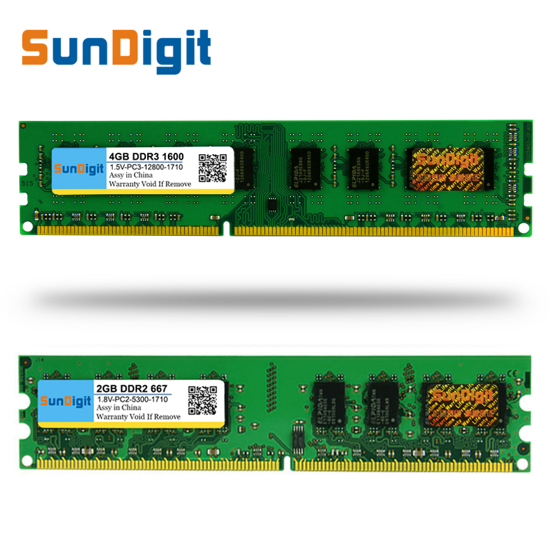 New For AMD Memory <font><b>RAM</b></font> SunDigit DDR 2 3 <font><b>DDR2</b></font> DDR3 / PC2 PC3-12800 10600 1GB 2GB 4GB 8GB Computer Desktop PC 667 800 1333 1600MHz image