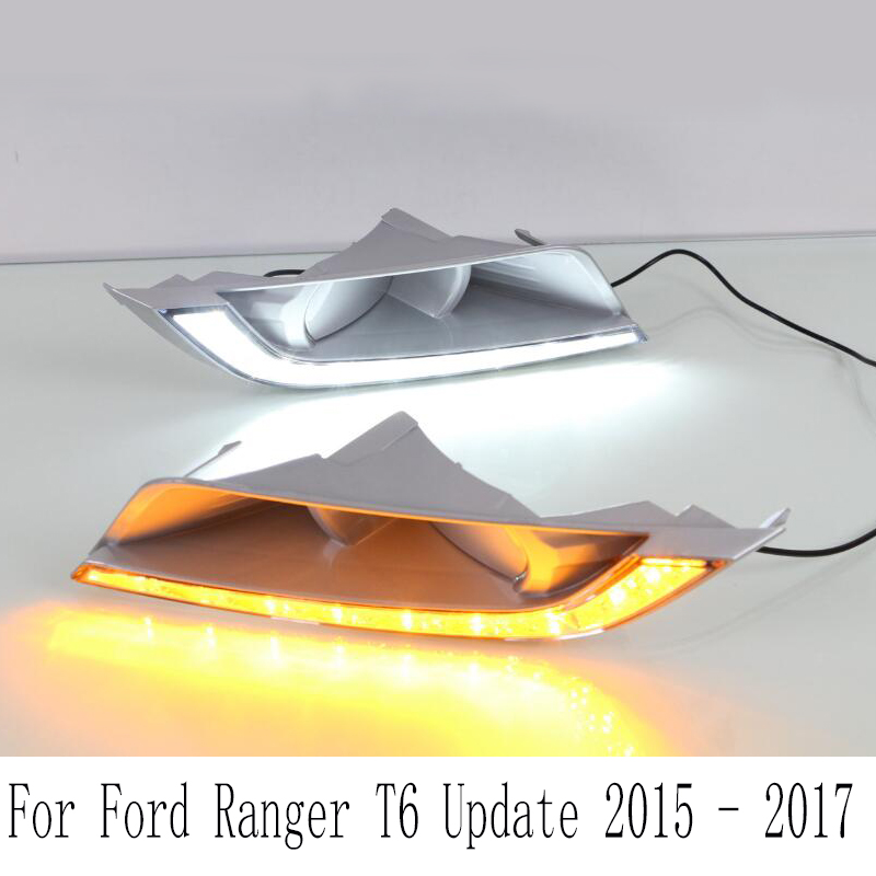 2pcs For Ford Ranger T6 Update 2015 - 2017 LED DRL Daytime Running Light Daylight Fog Head yellow turn Lamp фламена комплекс для приема внутрь 100 мл