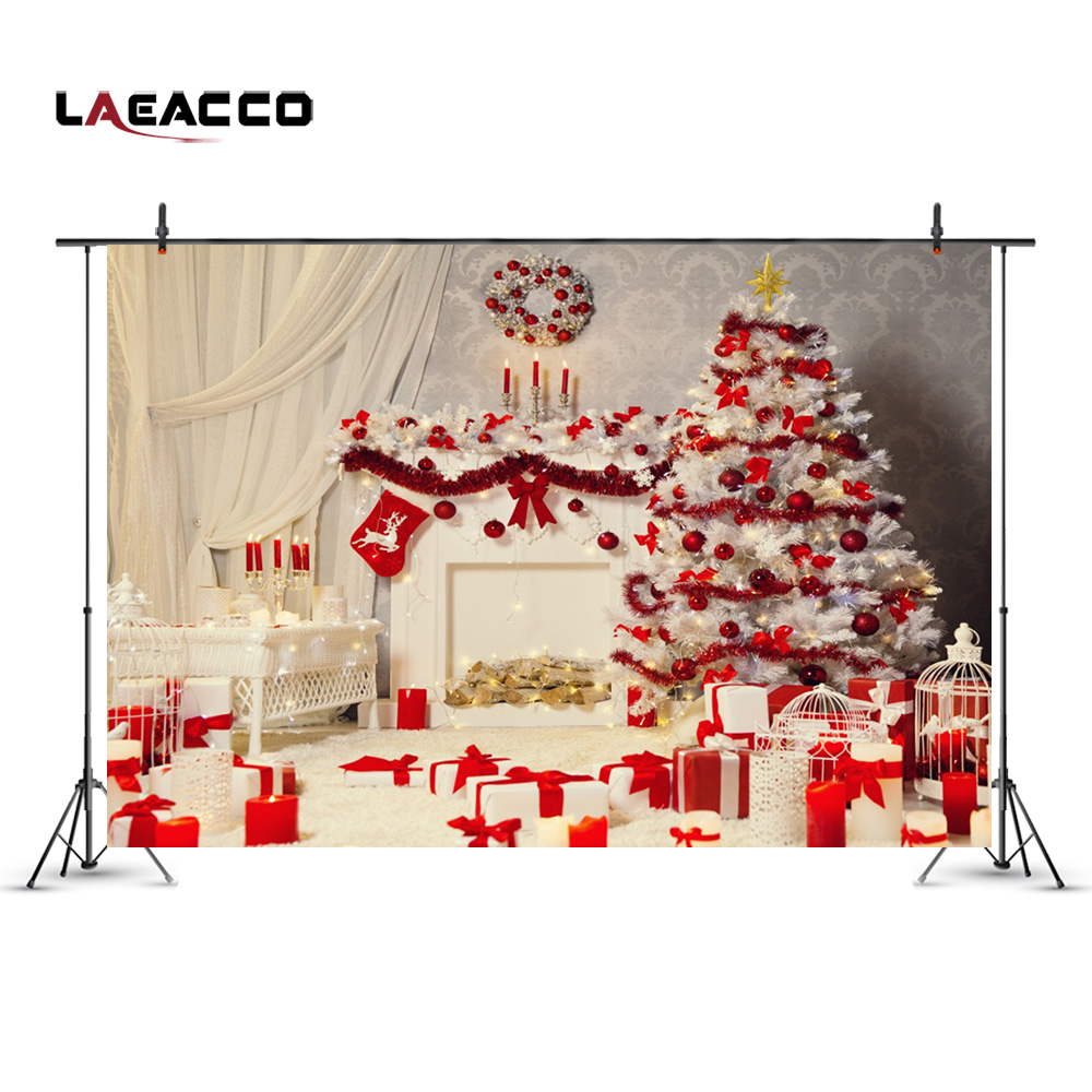 Laeacco Christmas New Year Home Decoration Tree Fireplace Indoor Photography Backgrounds Vinyl Backdrops Props For Photo Studio new 5x7ft vinyl photography backgrounds vintage wall backdrops for photo studio christmas home decoration noel f 775
