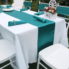 Free Shipping 5 Pieces Brand New Teal Blue 12x108 Satin Table Runners Wedding Party Supply Professional Decoration Many Color
