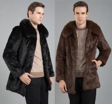 Black brown winter thicken warm faux fur coats mens leather jacket slim mink fur rabbit clothing men jaqueta de couro plus size цена 2017
