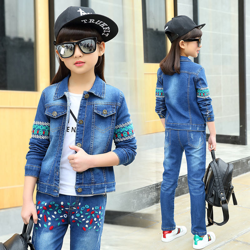 Latest Designs Beaded Embroidery Denim Jacket Jeans Two Pcs Set American Country School 4 to 13 Year Old Cute Girl Outfits letter embroidery do old denim fabric cabbie hat for men