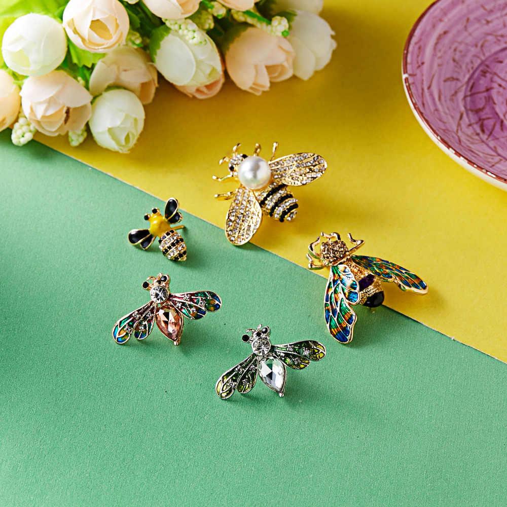 Rinhoo Fascino di Modo Honeybee Cristallo della Perla Dello Smalto Insetto Ape Spilla Spille Costume Brooches Dei Monili Spilli Per Le Donne Ragazze