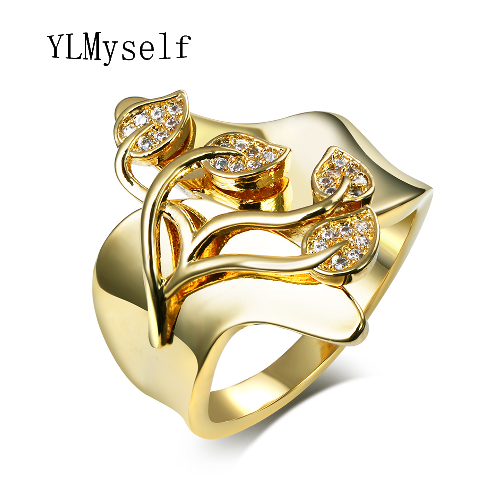 Romantic Leafs Design Jewelry Unique Finger Ring Clear