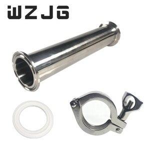 "Image 1 - WZJG OD 2 ""51 MM סניטרי סליל צינור עם 64MM מקורבות טבעת חזוק + Moonshine + תלת מהדק צינור אבזרי אורך 4 ""/6""/8 ""/12""/18 ""/24"""