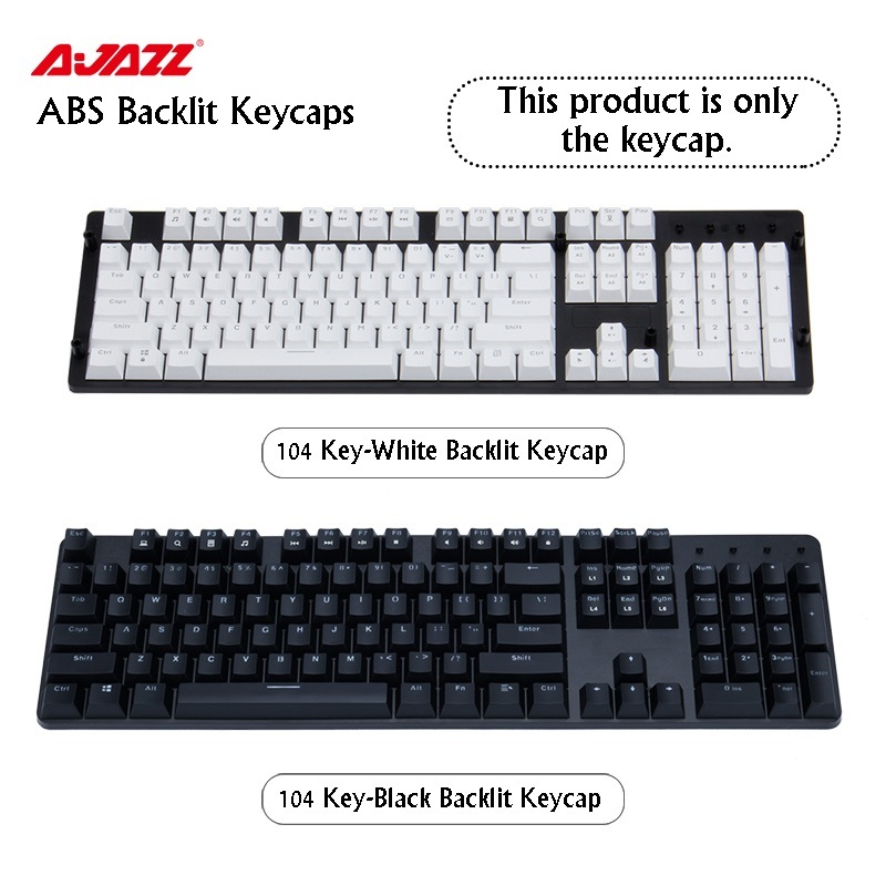 Ajazz ABS Top Printed 87 Key/104 Key Black White Two-Color Injection Backlit Keycaps For  MX Mechanical Keyboard
