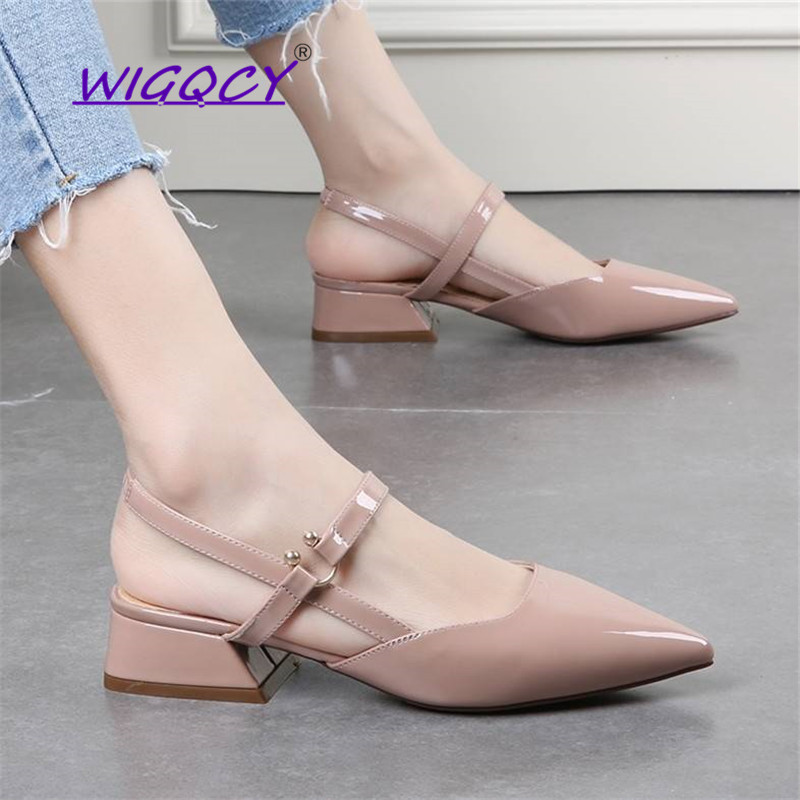 Pointed Toe Square heel pumps women shoes 2019 new summer shoes women Sexy Fashion Buckle Patent Leather Casual ladies shoes
