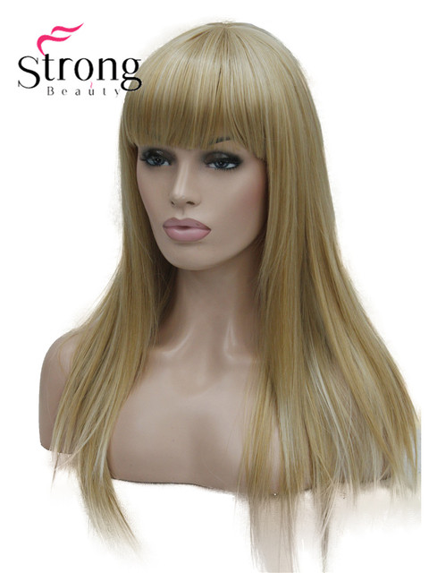 StrongBeauty Long Straight Ash Blonde with Light Blonde Highlights Synthetic Wig Womens Hair wigs