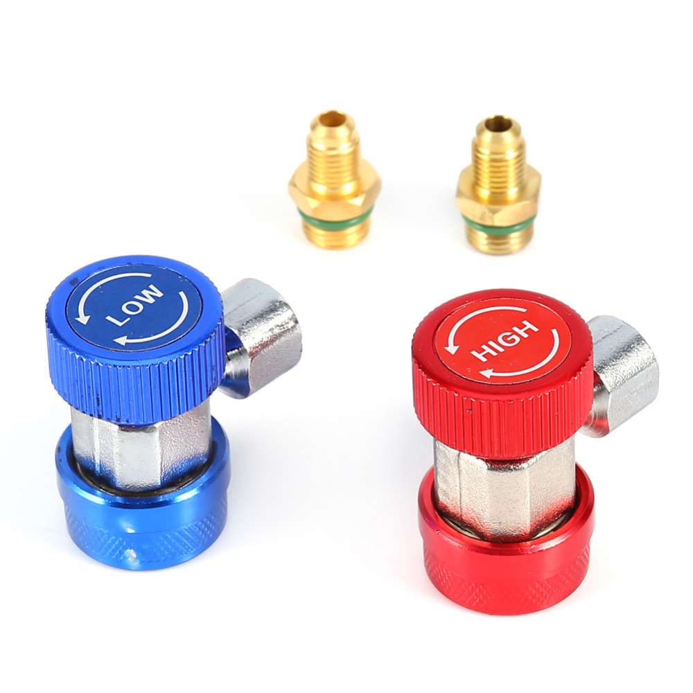 1 Pair ar Auto Freon R134A AC Air Condition Adjustable Quick Coupler Refrigerant High Low Adapter Connector Manifold Gauge Set