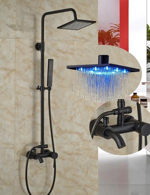 Single Handle Led Square Shower Head Wall Mount Faucet Oil Rubbed Bronze Tub Spout Mixer