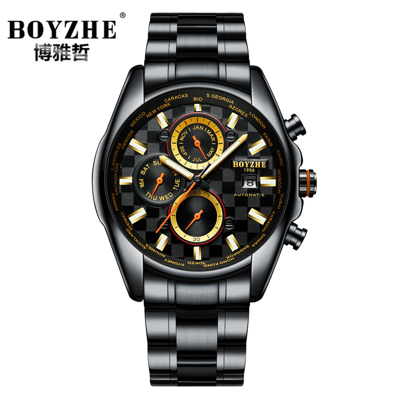 business man watches stainless steel luxury BOYZHE brand mens wristwatches Automatic mechanical waterproof calendar male clocks man automatic mechanical watches burei fashion brand male luxury clock calendar sapphire steel band 50m waterproof watch mens