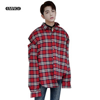 Autumn New High Street Shirt Men Fashion Hip Hop Loose Cotton Grid Shirt Oversize Rivet Long
