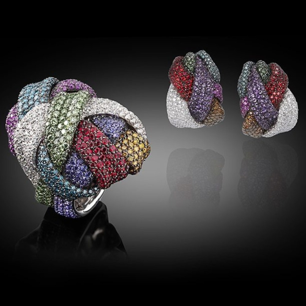Dubai luxe tressé croix ligne boucles d'oreilles bague de doigt ensemble de bijoux cadeaux pour les femmes de mariage vêtements de fiançailles bijoux femme