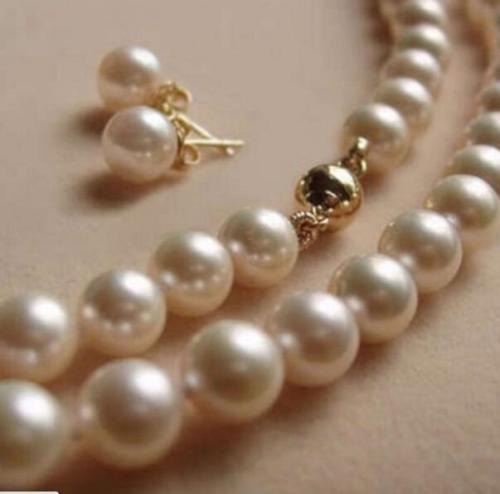 Charm AAA 10-11MM south sea round white Pearl Necklace + Earring 18