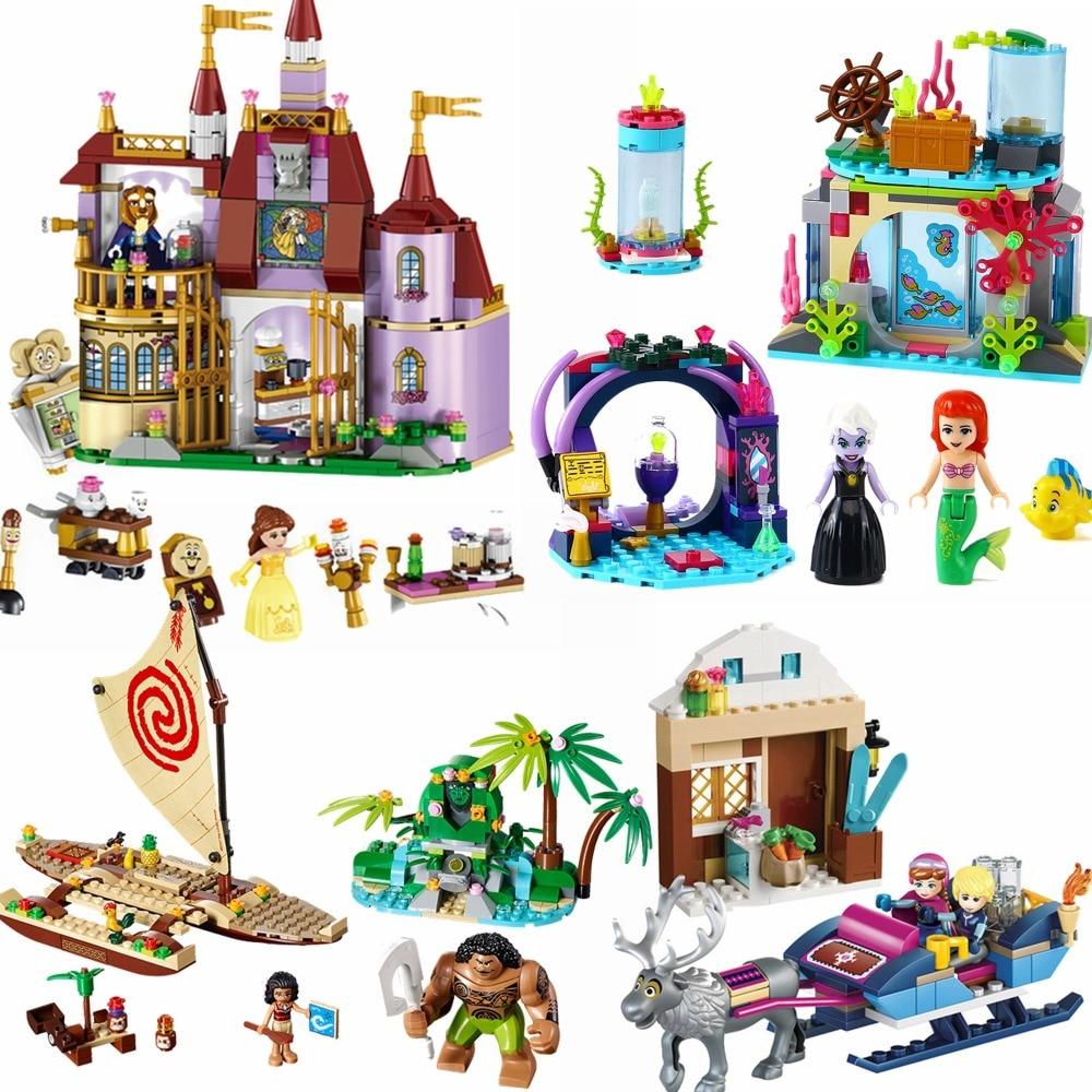 Aggiornato Amici Ragazze Della Principessa Anna Cenerentola Mermaid Snow Queen Moana Belle Building Block Giocattolo Per I Bambini Legoing Amico