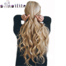 S-noilite Long 8PCS FULL HEAD Clip in on Hair Extensions 18Clips in Curly Natural Hairpieces Synthetic Fiber For Women