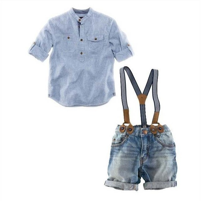 Boys Clothes Suit Gentleman Autumn long-sleeved striped shirt + Strap jeans 2pcs/set baby kids children's suit denim pants New