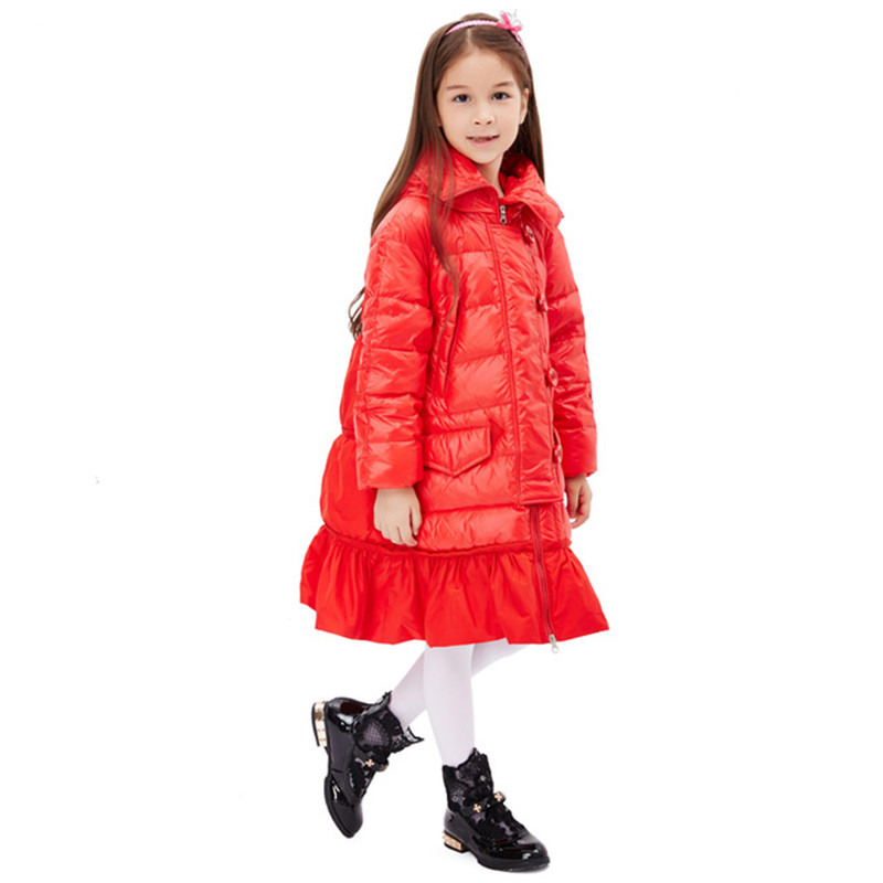 High quality Children Winter Outerwear 2017 Baby Girls Down Coats Jacket Long Style Warm Thickening Kids Outdoor Snow proof Coat 2017 new baby girls boys winter coats jacket children down outerwear warm thick outdoor kids fur collar snow proof coat parkas