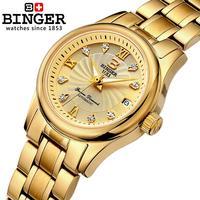 Switzerland BINGER Women's Watches Luxury 18K Gold Mechanical Wristwatches Stainless Steel Waterproof Clock Women Dress Watch