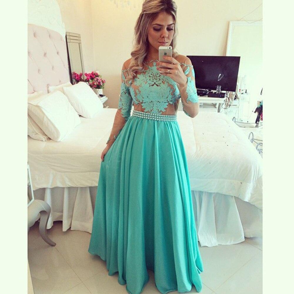 Vestidos De Festa See Through Lime Green Chiffon Long Prom Dresses ...