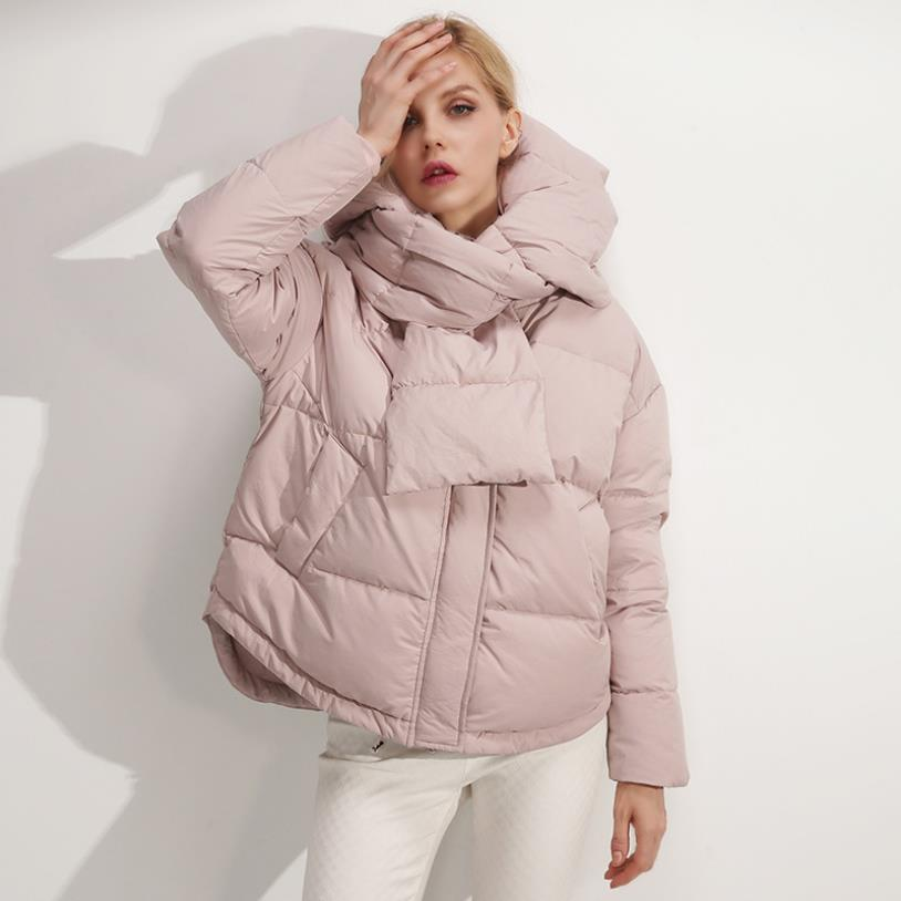 Winter new fashion brand white duck down jacket female hooded stitching warm duck down coat with down scarf  wq411 dropship