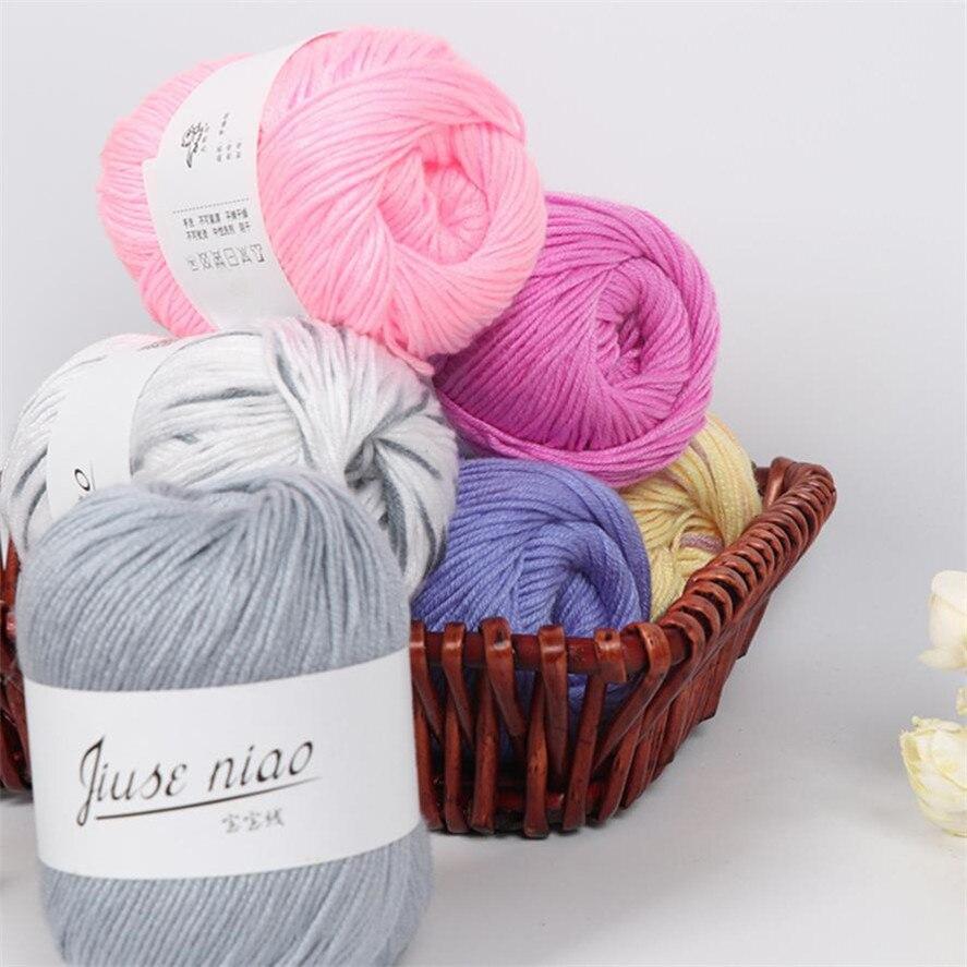 Hand Kniting Milk Cotton Yarn For Baby Sweater 1PC 50g Cotton Yarn Hand Knitting Baby Milk Cotton Crochet Knitwear Wool 38