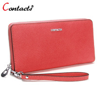 CONTACT S Genuine Leather Women Wallets Candy Color Lady Purse Female Long Cridet Card Holder Phone