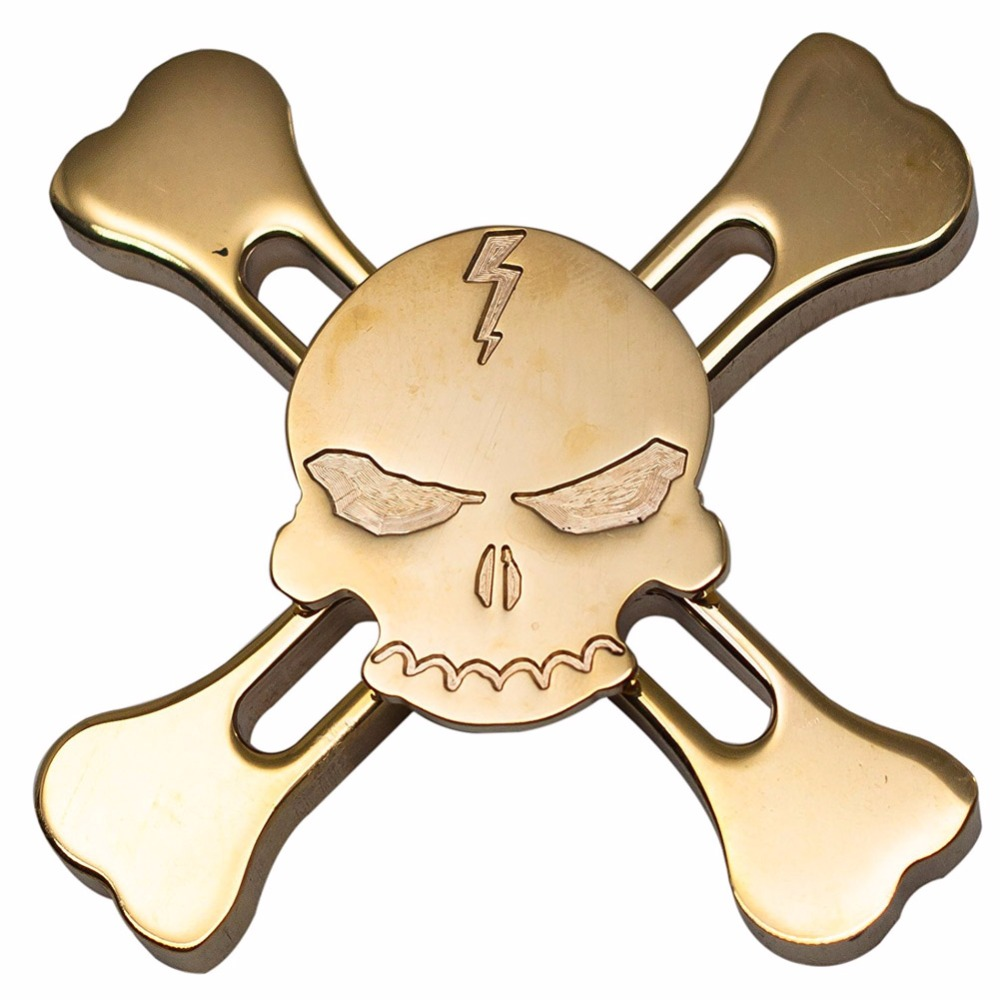 Supology 2017 Anti Stress Skull Fidget Spinner Metal EDC Toys Brass Color Hand Spinner For Autism and ADHD Ceramic Bearings fidget hand spinner brass metal edc finger spinner anti stress hand spinner for autism adhd toys gift spinning top
